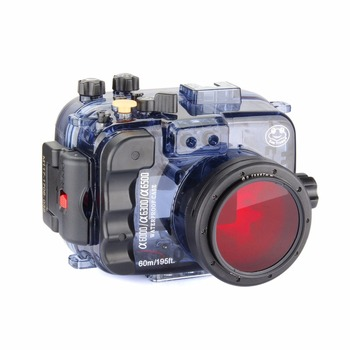 Seafrogs 60m/195ft Waterproof Underwater Camera Housing Case for Sony Alpha A6000 A6300 A6500 (Housing + Cover + Red Filter) 1