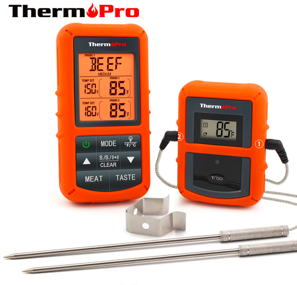 Meat-Thermometer Probe Stainless-Steel Wireless Timer Bbq-Oven Digital Remote TP-20S title=