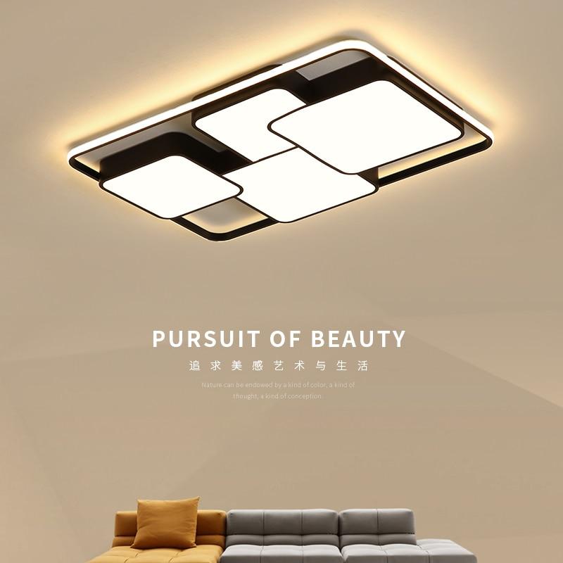 Modern Ceiling lights LED Lamp for Living room luminaria lamparas de techo Rectangle Black Modern LED Ceiling lamp with remot