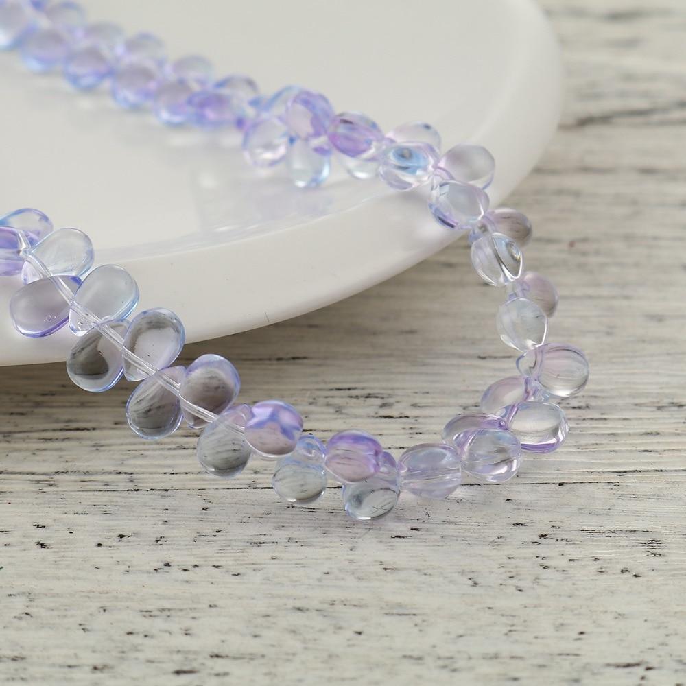 10 Teardrop Beads Czech Glass Purple Mermaid Tears Jewelry Supplies 9mm