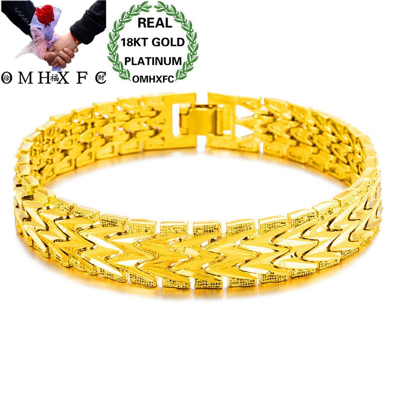 OMHXFC Wholesale European Fashion Woman Man Female Male Party Wedding Gift Vintage Wide Watch Chain 18KT Gold Bracelets BE163OMHXFC Wholesale European Fashion Woman Man Female Male Party Wedding Gift Vintage Wide Watch Chain 18KT Gold Bracelets BE163