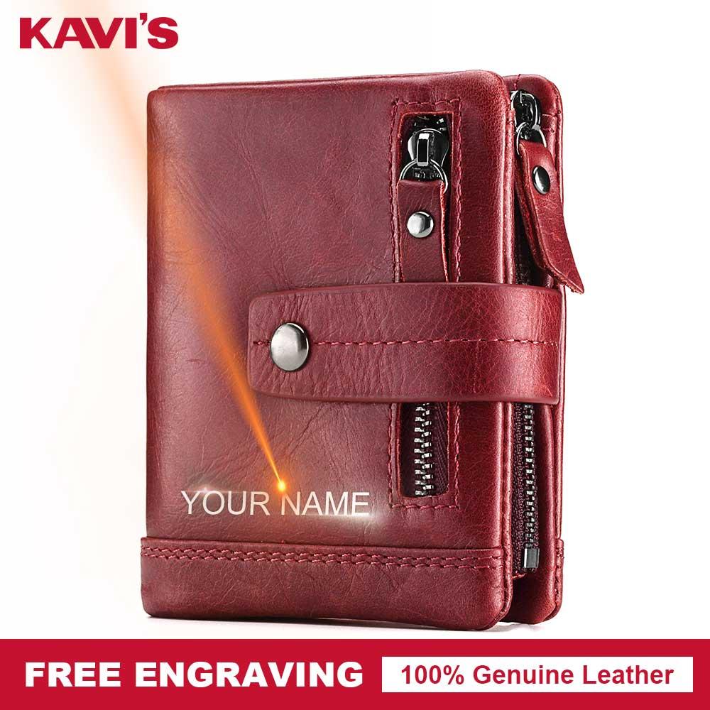 KAVIS Genuine Leather Wallet Men PORTFOLIO Male Cudan Small Portomonee Perse Coin Purse Pockets Slim Rfid Zipper Card Holder