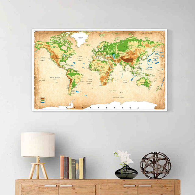 Antique World Map Canvas Painting Retro Global ELEVATION TINTS ...