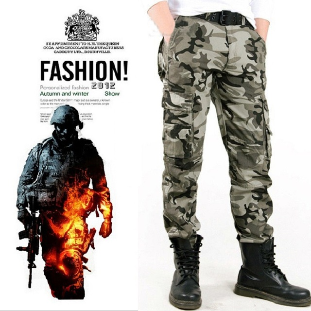 ff41073464 Fashion Pocket Men's Camouflage Pants Casual Thickening Trouser Combat  Military Style Jogger Tactical Male Camo Army Cargo Pant