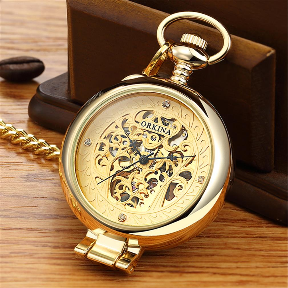 ORKINA Antique Skeleton Mechanical Pocket Watch gift Men Chain Necklace Business Casual Pocket & Fob Watches Luxury Watch