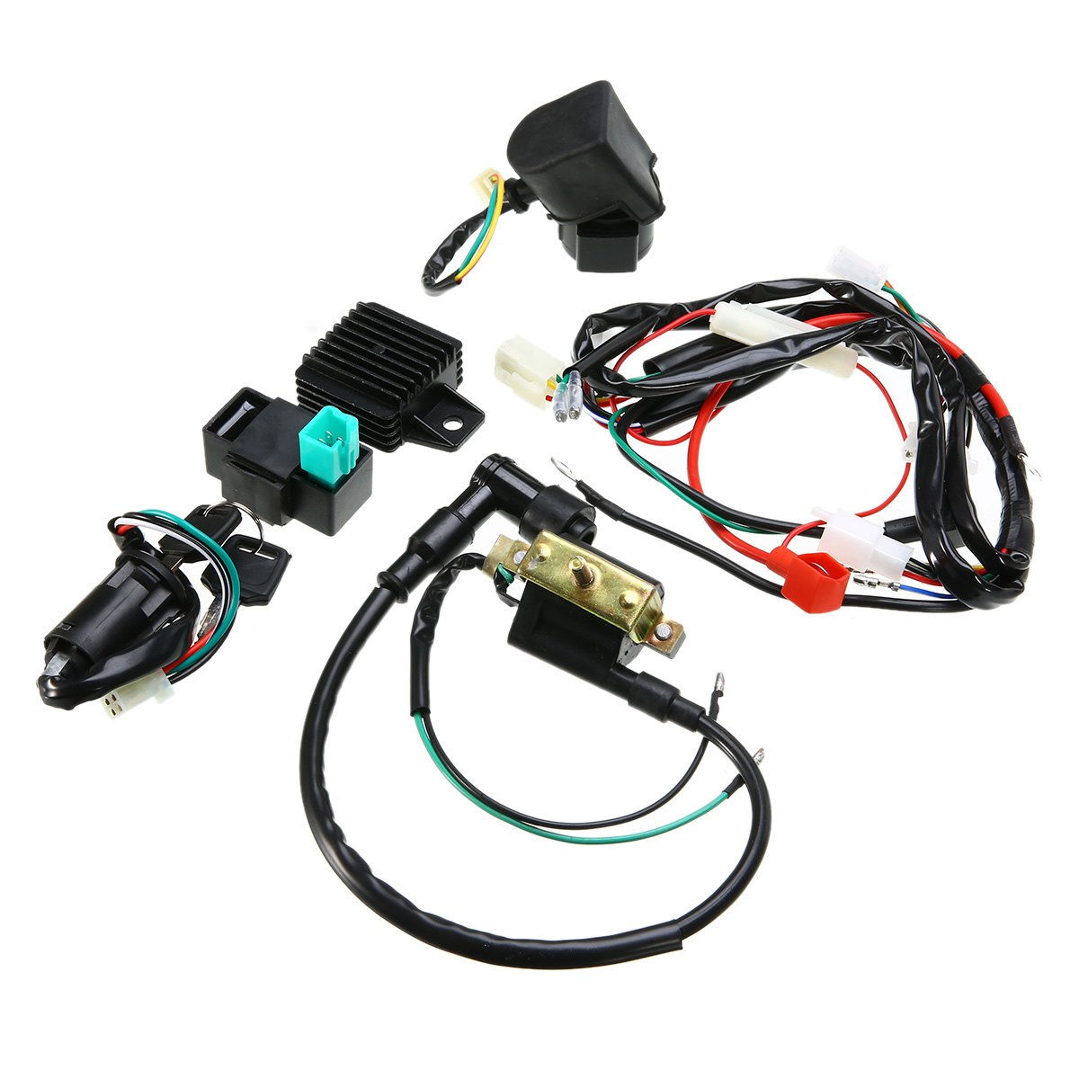 Motorcycle Ignition 50cc-125cc CDI Quad Wiring Harness Loom Solenoid Coil Rectifier for 50cc 110cc 125cc PIT Dirt Bike ATV