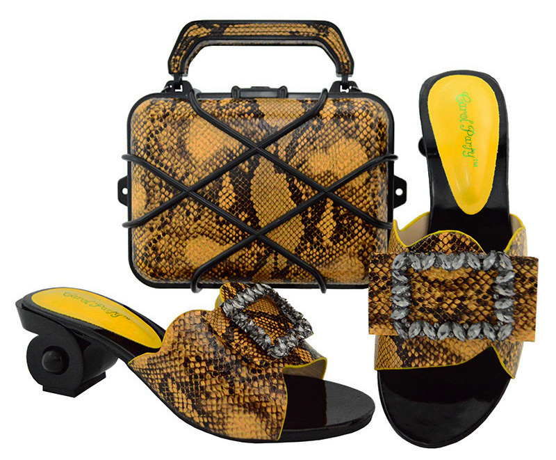 New Yellow Color Latest Design Matching Italian Shoe and Bag Set Wedding and Party African Shoes and Bag Set for Party GL02 doershow italian shoe with matching bag silver african shoe and bag set new design matching shoes and bags for party bch1 6