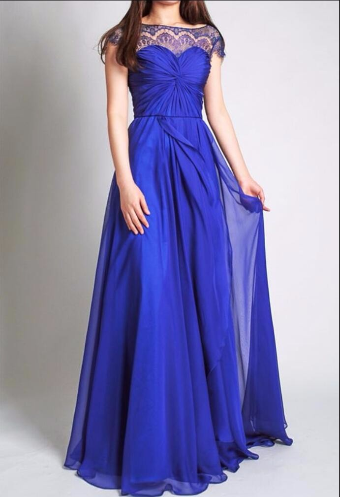 Royal Blue With Cap Sleeves Lace Chiffon A-line Wedding Party Long Bridesmaid Dress 1