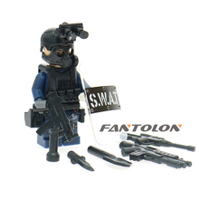 Single Sale Figure Military Modern SWAT Police with Shield Weapon Bricks font b building b font