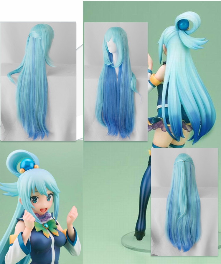 KonoSuba Gods Blessing on This Wonderful World ! Cosplay Wigs KonoSuba Aqua Blue Long Straight Synthetic Hair Adult Role Play