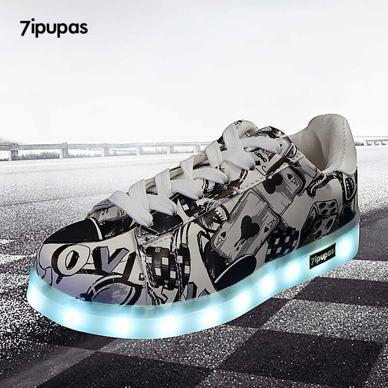 7 ipupas 27-44 USB ชาร์จแฟชั่น LED รองเท้า 2018 ใหม่ Graffiti เรืองแสงรองเท้าผ้าใบสำหรับสาวเด็กสาว unisex luminous Light Up รองเท้าผ้าใบ
