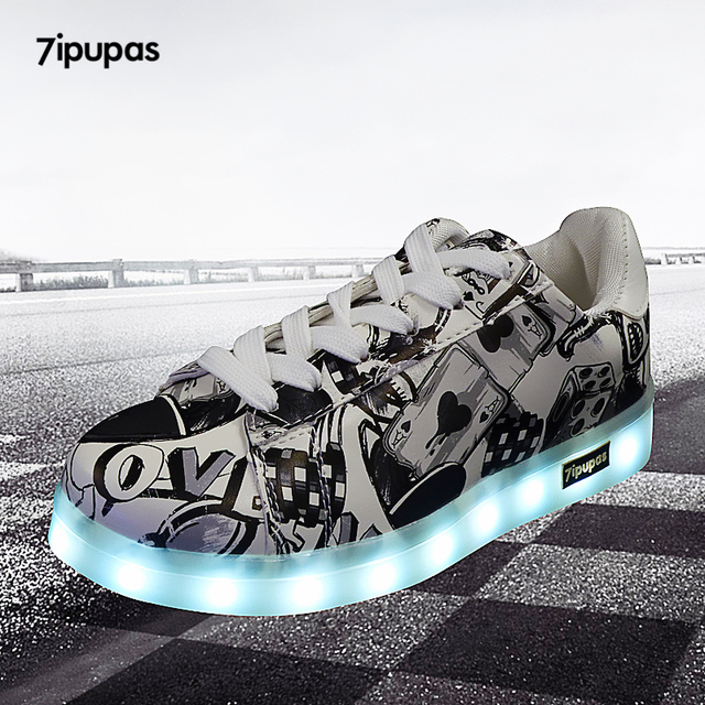 7ipupas 27-44 USB charging Fashion LED Shoe 2018 New Graffiti glowing sneaker for kid boy girl unisex Luminous Light Up Sneakers 1