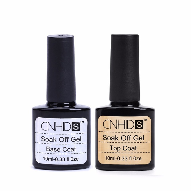 2pcs Cnds Brand 10ml Gel Nail Polish Soak Off Glue Base Coat Top