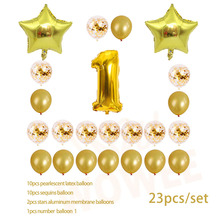 One year old Gold Balloon Champagne Number Birthday Balloons Party Decoration Happy Decor 001
