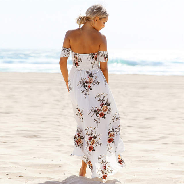 a93d408b271df US $25.0 |Boho style long dress women Off shoulder beach summer dresses  Floral print Vintage chiffon white maxi dress vestidos de festa-in Dresses  ...