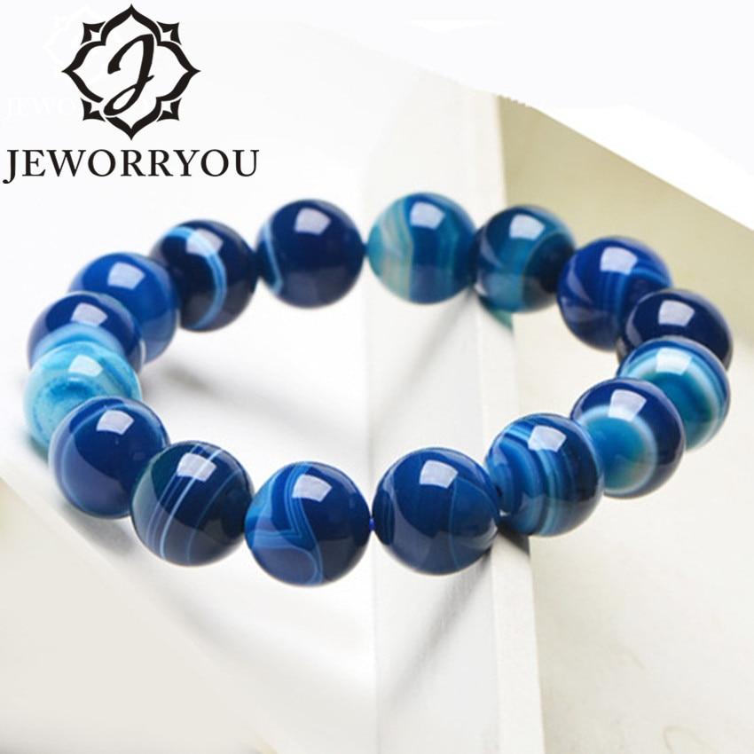 6-12mm Blue Natural Agate Mens Bracelets Natural Sone Femme Blue Best Friend Bracelet For Men 2019 Natural Stone Bracelet Homme