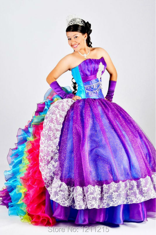 Colorful Rainbow Quinceanera Dresses 2016 Ball Gown Prom Dresses Organza Ruffles Formal Party