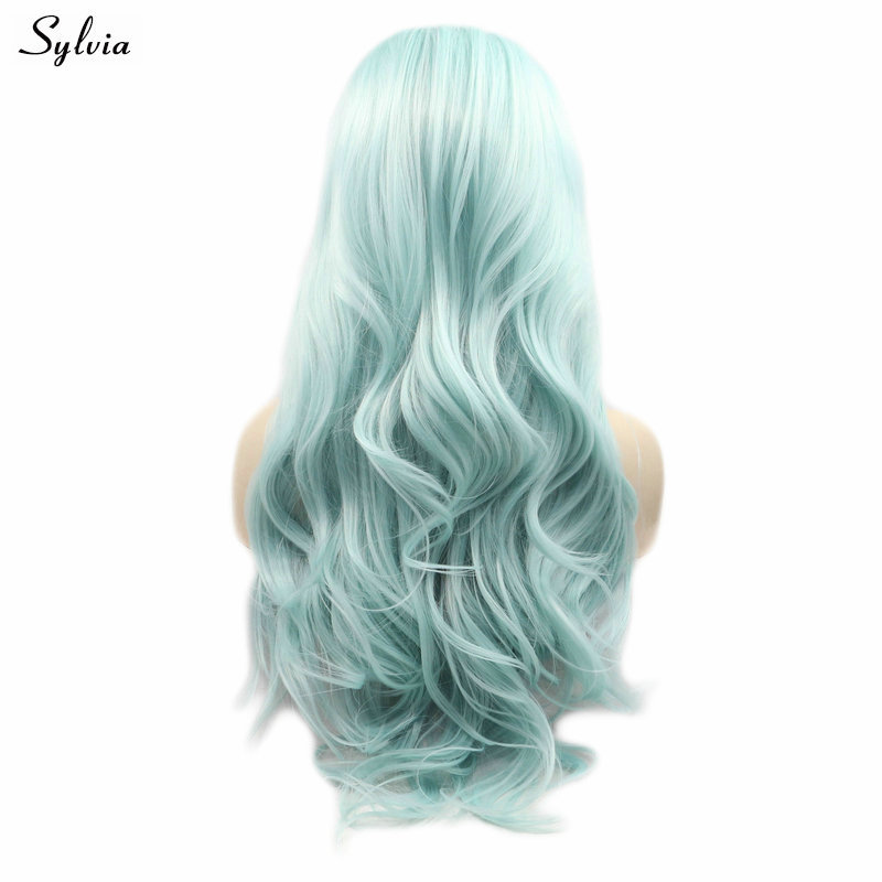 Sylvia Synthetic Wig Pale Mixed Blue Color Soft Natural Wave Long Wig Lace Front Wig Cosplay