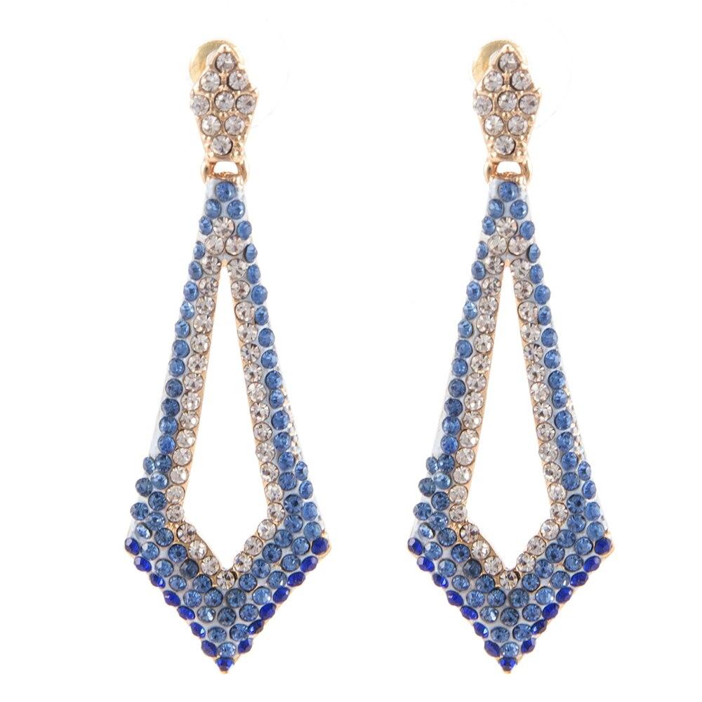 55 Cm Luxurious Bridal Earrings Vintage Blue Crystal Long Drop Earings  Woman Bridesmaids Jewellery Wedding Earrings