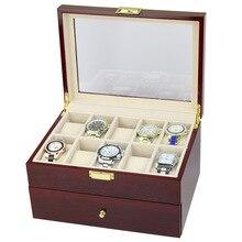 Коллекция Деревянный дисплей часов, корпус коробка для хранения часов с прозрачным смотровым верхом со стеклом вмещает 20 часов 2 слоя хранения