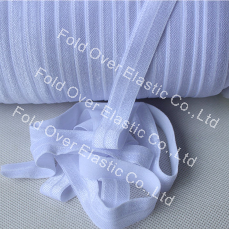Free Shipping Shiny029 White 15mm Fold Over Elastic, 100yard Per Roll, Good Elasticity Elastic For Hair Ties Headbands