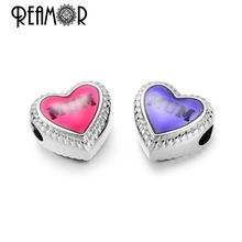 Reamor On Sale 5pcs 316l Stainless Steel Mum Beads Pink&Purple Heart Charms Bead For Bracelet Bangle Jewelry Making For Mom Gift(China)