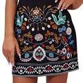 Ретро вышивка черный цветочные короткая юбка Повседневная осень зима высокая талия тонкая юбки женщин Старинные 90-х мини-юбки