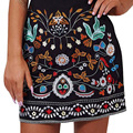 Retro bordado floral preto short skirt Casual outono inverno 90's mini saias de cintura alta magro saia das mulheres Do Vintage