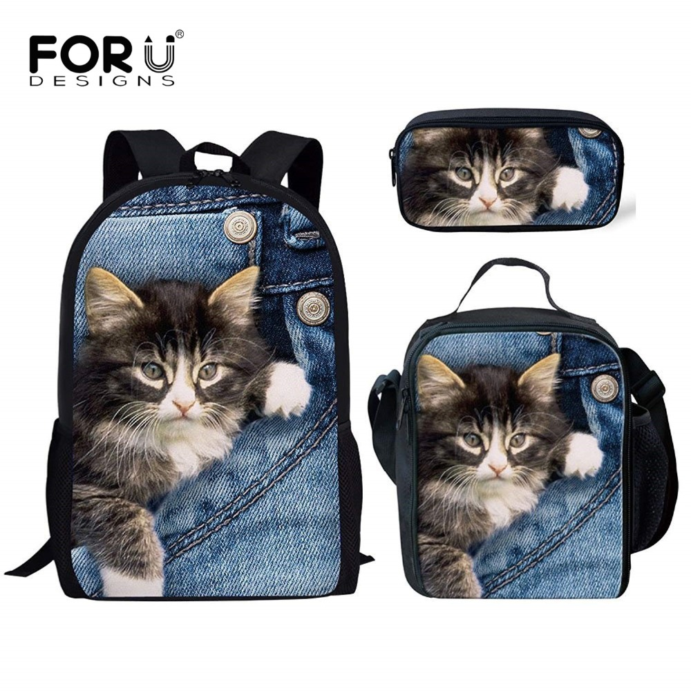 FORUDESIGNS Kids Backpack Girls Cute Denim Cat Printing Orthopedic School Bag Set Primary Schoolbag Mochila Bookbag Sac A Dos