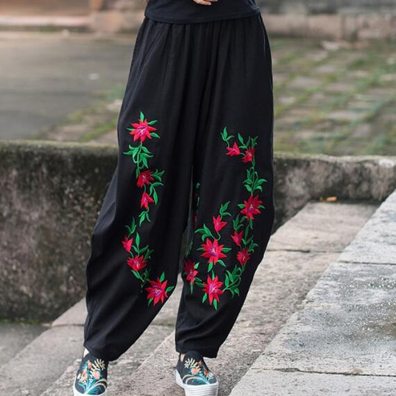 f14c43c699a Femme pantalones mujer trousers women mother autumn spring Mexico style ethnic  vintage long black flowers embroidery pant AF509