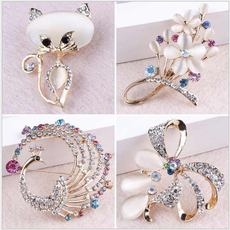 WEIMANJINGDIAN Brand Elegant Crystal Rhinestones Cat / Peacock / Bow / Aquarius and Floral Opal Brooch Pins in assorted