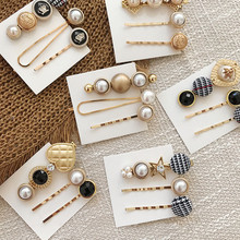 Fashion Hair Accessories for Women Pearl Clips Girls Alloy Retro Barrettes Hairgrip Geometric Adult Hairpin 3pcs/set