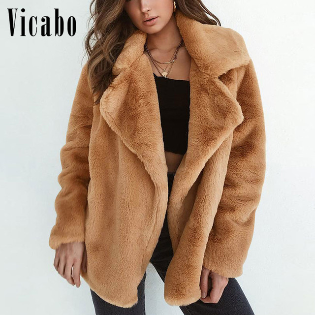 d21adca847 Vicabo Autumn Winter Warm Fluffy Faux Fur Coat Women Casual Outerwear Fur  Jacket Cardigan Fashion Thick Plush Teddy Coat Pink
