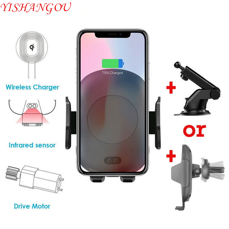YISHANGOU Wireless Charger Car Holder Case For iPhone X XS 8 Plus For Samsung S8 S9 Note 9 8 S7 Automatic Infrared Sensor Cover