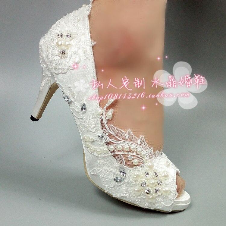 Elegant lace flower wedding shoes mouth bride wedding photo pearl diamond satin super high and bridesmaid side empty woman цены
