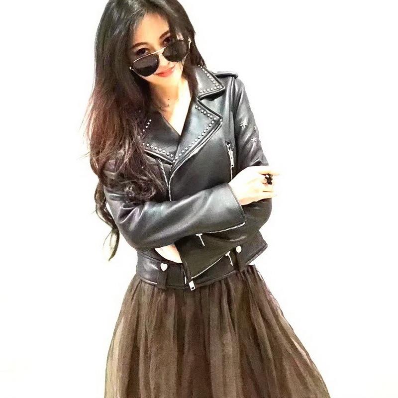 Peau P3934 Ptslan Qualité Vêtements Femelle Mouton De Black Nouveau Style Luxe Naturel 2018 Bonne Automne Moto Veste En aYqOar