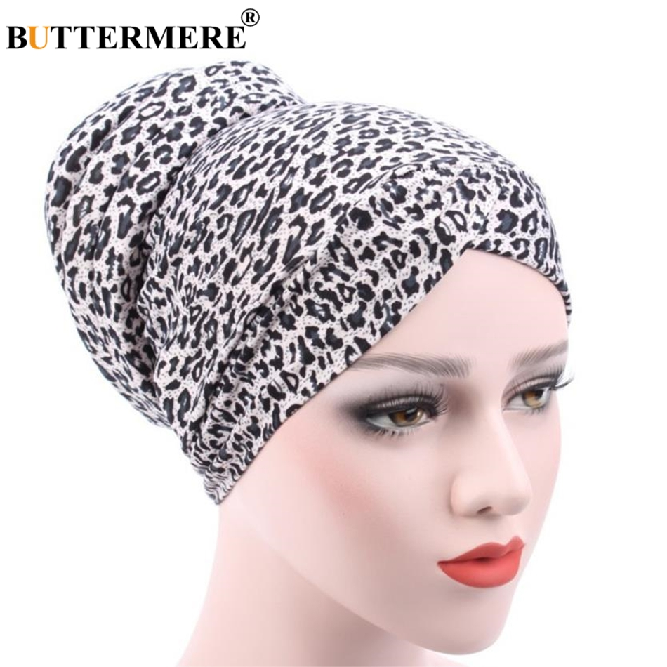 BUTTERMERE Womens Chemo Hats   Skullies     Beanies   Muslim Turban Stretch Pile Heap Cap Leopard Autumn Headscarf Bandana Headwear