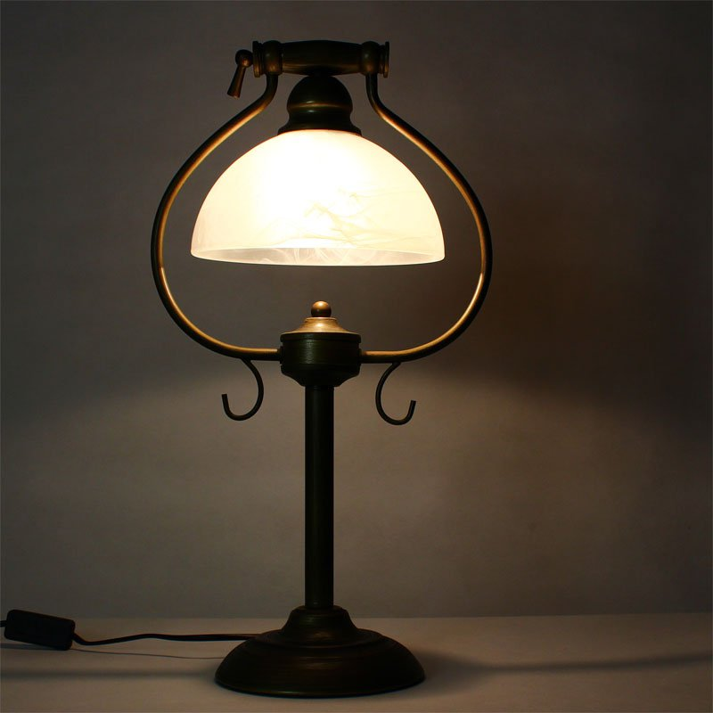 Vintage European Study Room Table Lights Bronze Metal Base Glass Lampshade Living Room Reading Desk lighting Fixtures