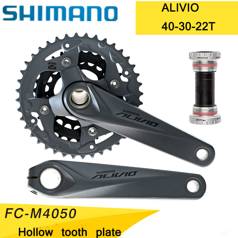 SHIMANO ALIVIO FC-M4050 Mountain bike crank set Bicycle crank set Sprocket 22/30/40T Bicycle crank set Hollow tooth plate betty blue брюки капри