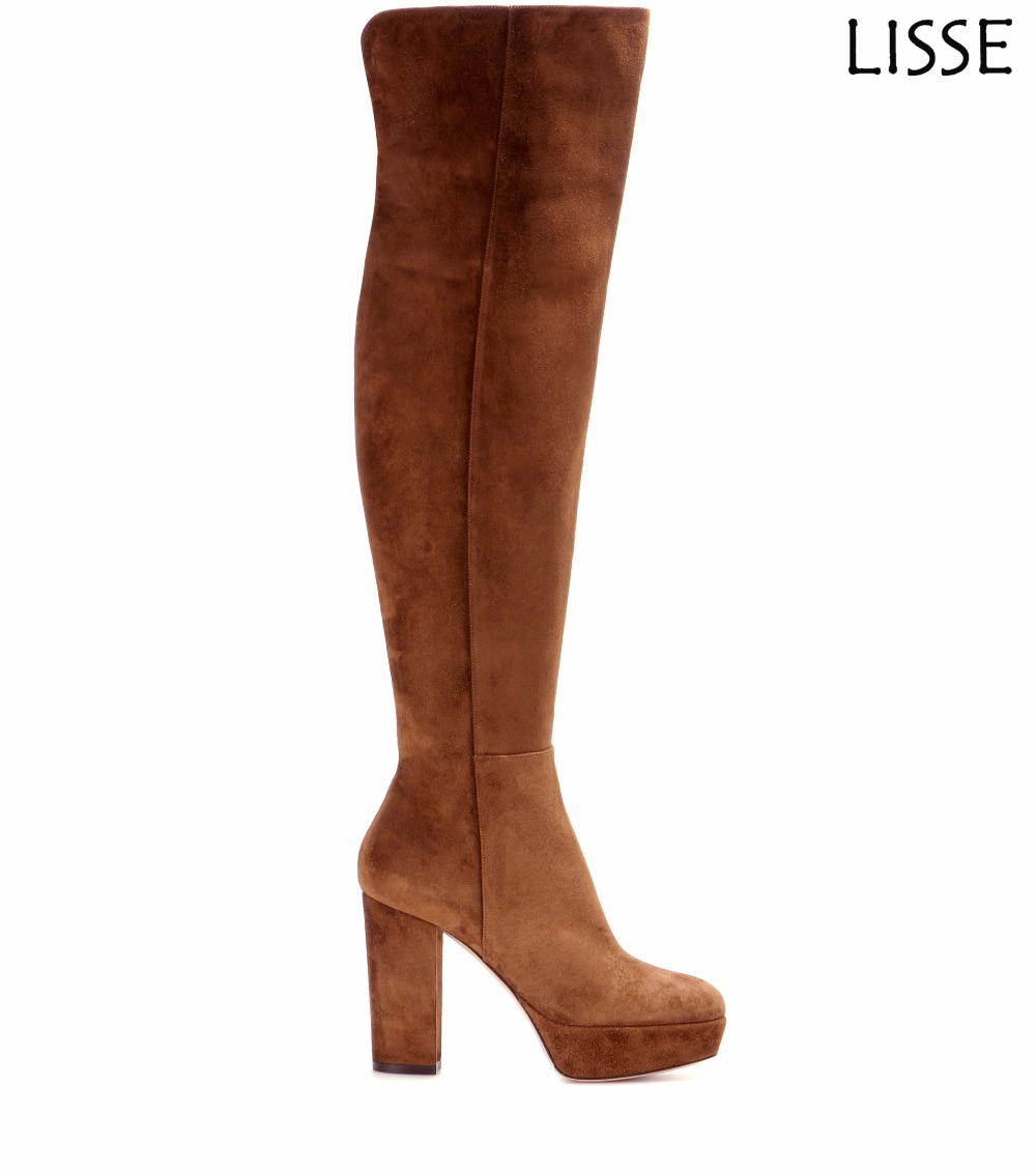New Women Round Toe Platform Chunky Heel Over the Knee Boots Brown Faux Suede Big Size4-15.5 Wholesale
