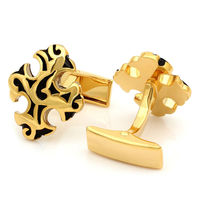 Kemstone Gold Tone Cross Shape Totem Retro Rome Engraving Cufflinks for Men