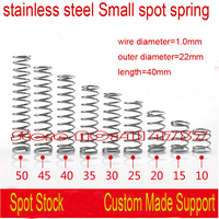 20pcs 1.0*22*40mm 1.0mm wire stainless steel Small spot spring Button spring compression spring pressure spring