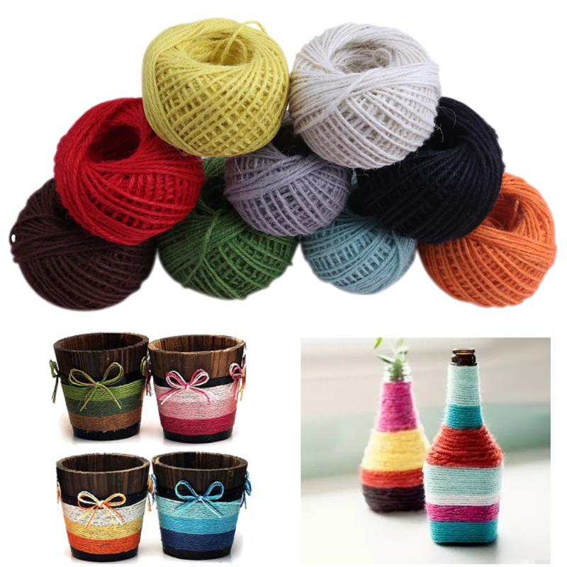 50m 2mm Jute Rope Twine Rustic String Cord Rope DIY String Crochet Yarn For Knitting Accessories Colorful Yarn Sewing Accessory