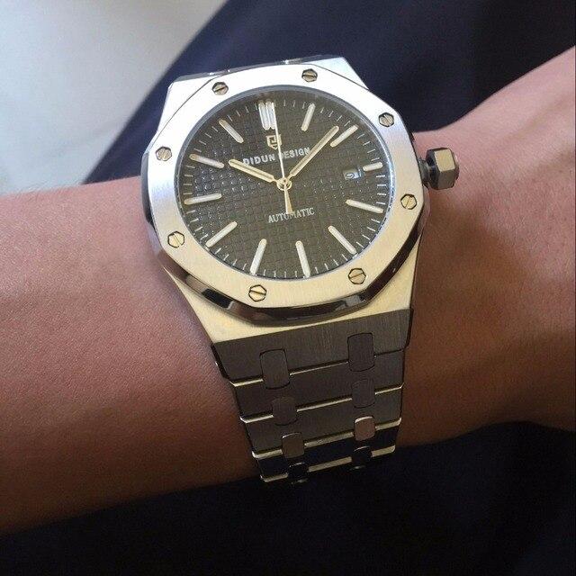 Didun Для мужчин S Автоматический Деловые часы лучший бренд класса люкс Часы Для мужчин Сталь армии Военная Униформа Часы мужской Бизнес наручные часы