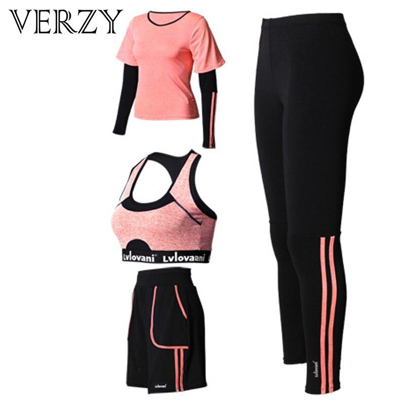 ✔  Плюс размер женщин йога набор спортивные костюмы для женщин 4 шт. Тренажерный зал с длинным рукавом  ★