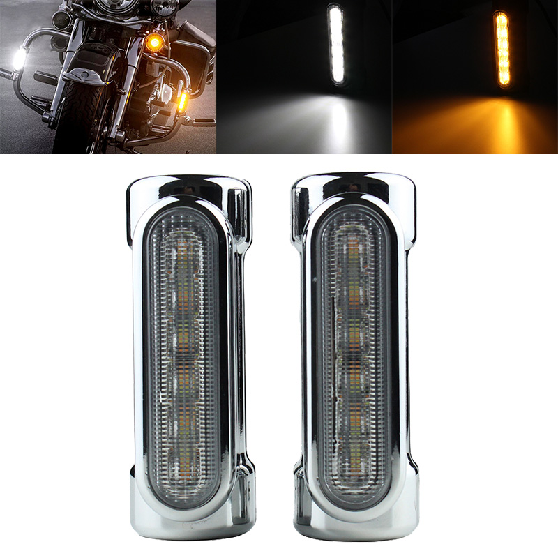 FADUIES Motorcycle Highway Bar Switchback Turn Signal Light White Amber LED For Victory Harley Road King/Touring Models
