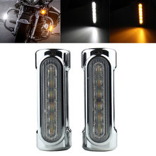 FADUIES Motorcycle Highway Bar Switchback Turn Signal Light White Amber LED For Victory Harley Road King/Touring Models(China)