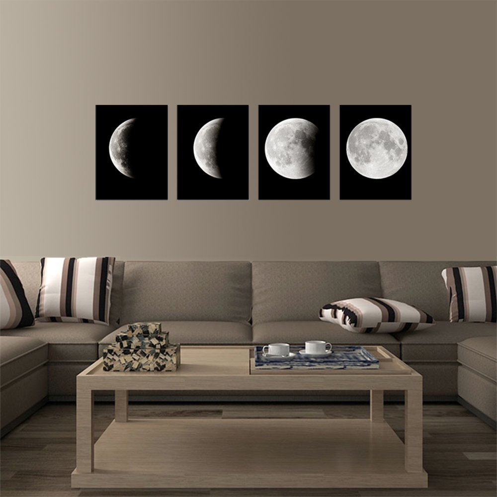 Modern abstract space paintings on canvas wall decor for Modern black and white wall art