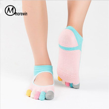 5pairs Women Yoga Sock Pilates Five Tenen Anti Slip Sokken Dames Dance Socks Dames Sport Floor Outdoor Ballet Sokken