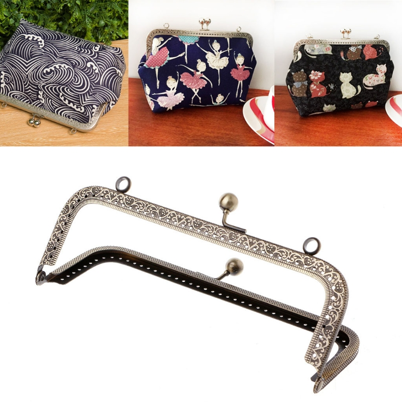 THINKTHENDO 1Pc DIY Purse Handbag Handle Coins Bags Metal Kiss Clasp Lock Frame DIY 18cm